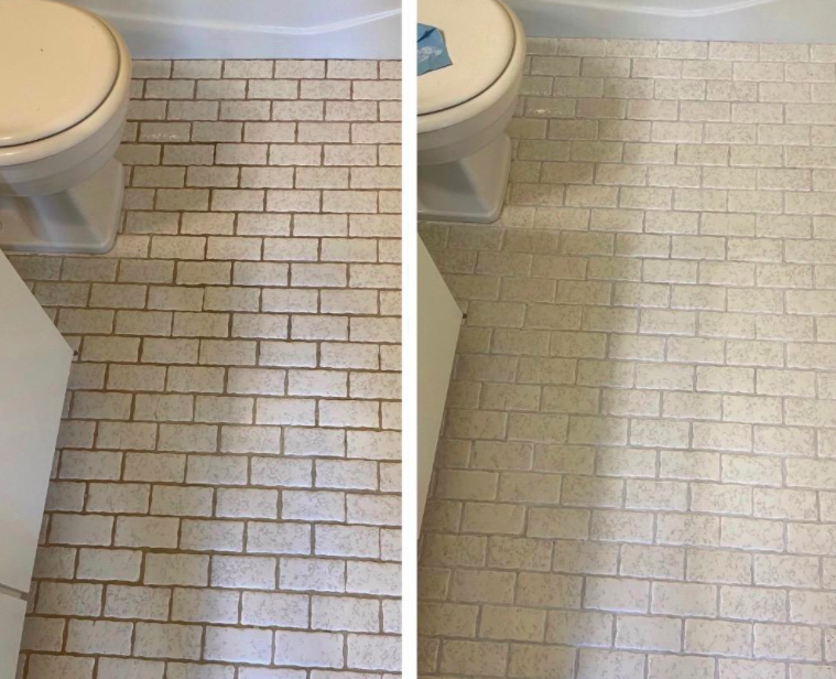 On the left, a tile floor looking dark and dirty from grout, and on the right, the same tile floor now clean and grout-free after using the pen