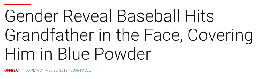 Gender Reveal Baseball Hits Grandfather in the Face, Covering Him in Blue Powder