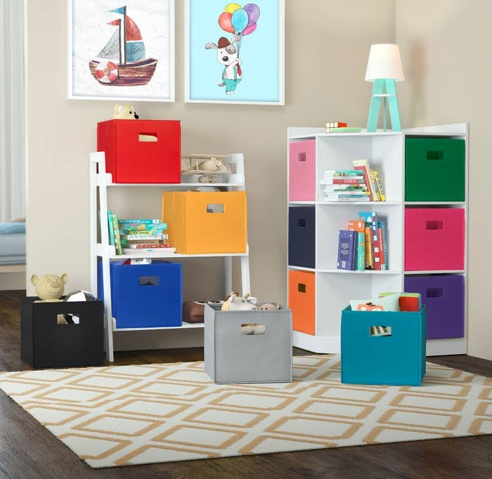 Multiple multi-colored storage cubes with handles