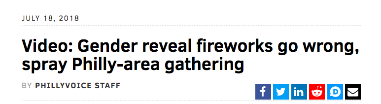 Gender reveal fireworks go wrong, spray Philly-area gathering