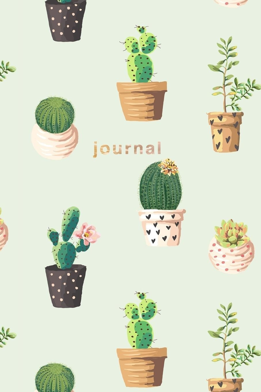 A journal adorned with drawings of various different types of cactii