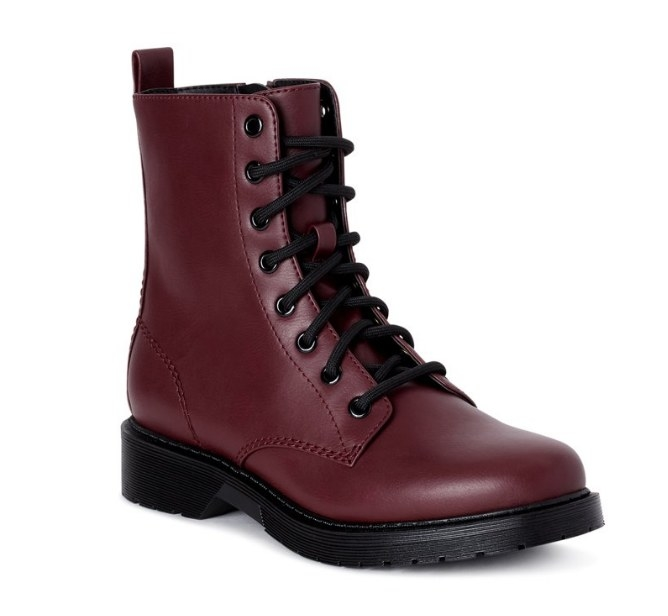 Maroon colored boot with black laces and black sole