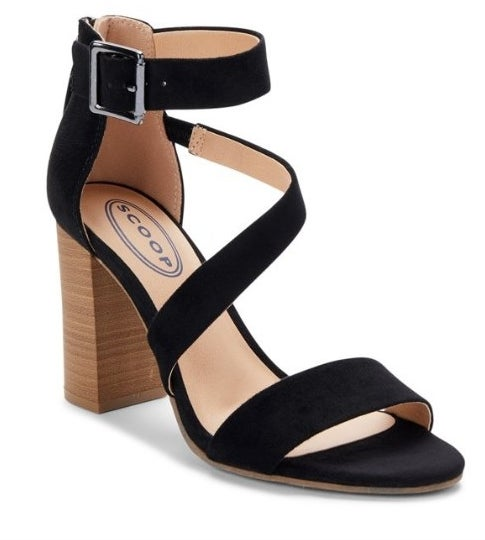 Black strapped sandal with wooden high heel
