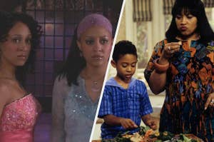 "Tia and Tamera post in ""Twitches"" on the left with Lisa tasting food on the right"