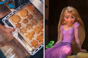 """On the left, someone pulls a tray of cookies out of the oven, and on the right, Rapunzel from """"Tangled"""""""
