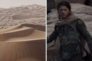 The Dune planet side-by-side with Zendaya