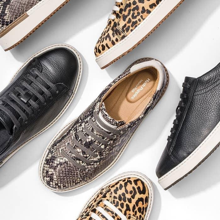 the sneakers in black, snakeskin, and cheetah print