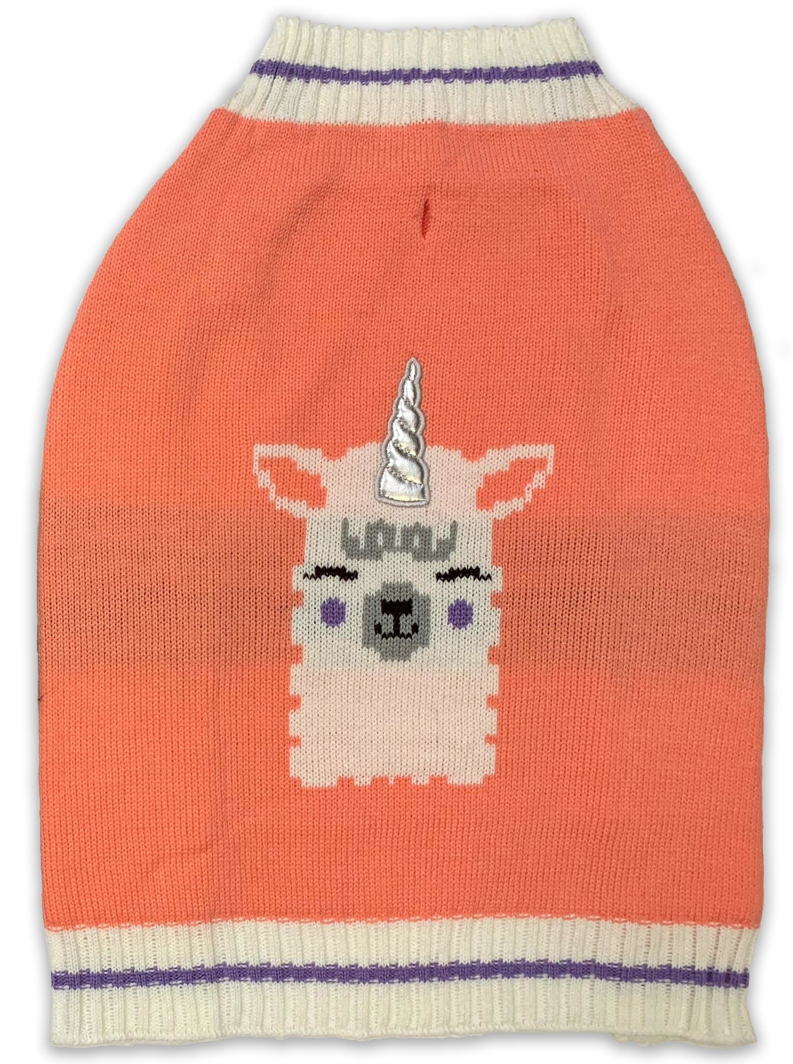 A coral dog sweater with purple and ivory varsity stripes and a llama stitched in the center