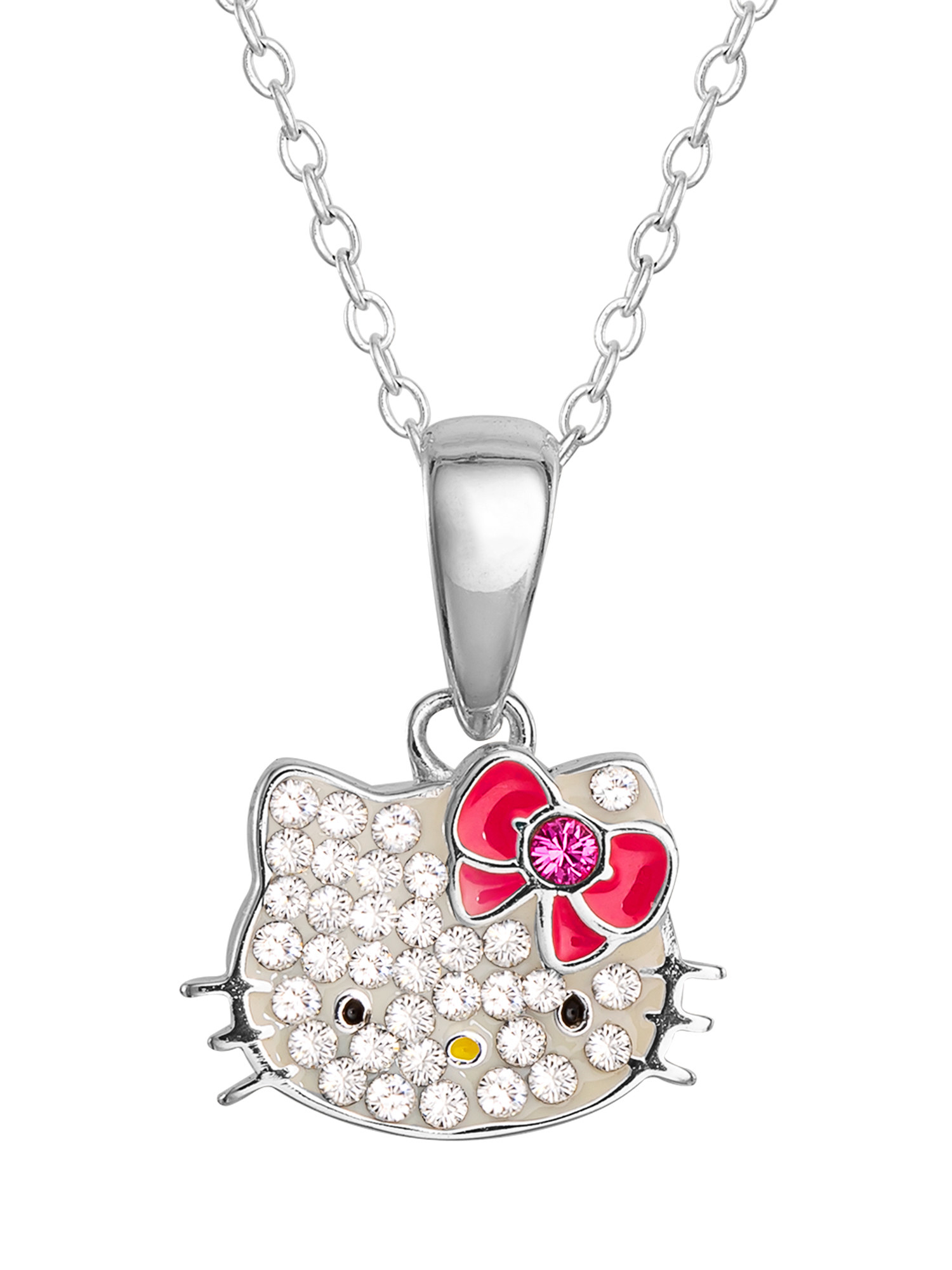 A silver Hello Kitty pendant with pink and yellow enamel, and pink and white rhinestones