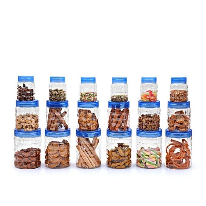 18 containers filled with various snacks and condiments.