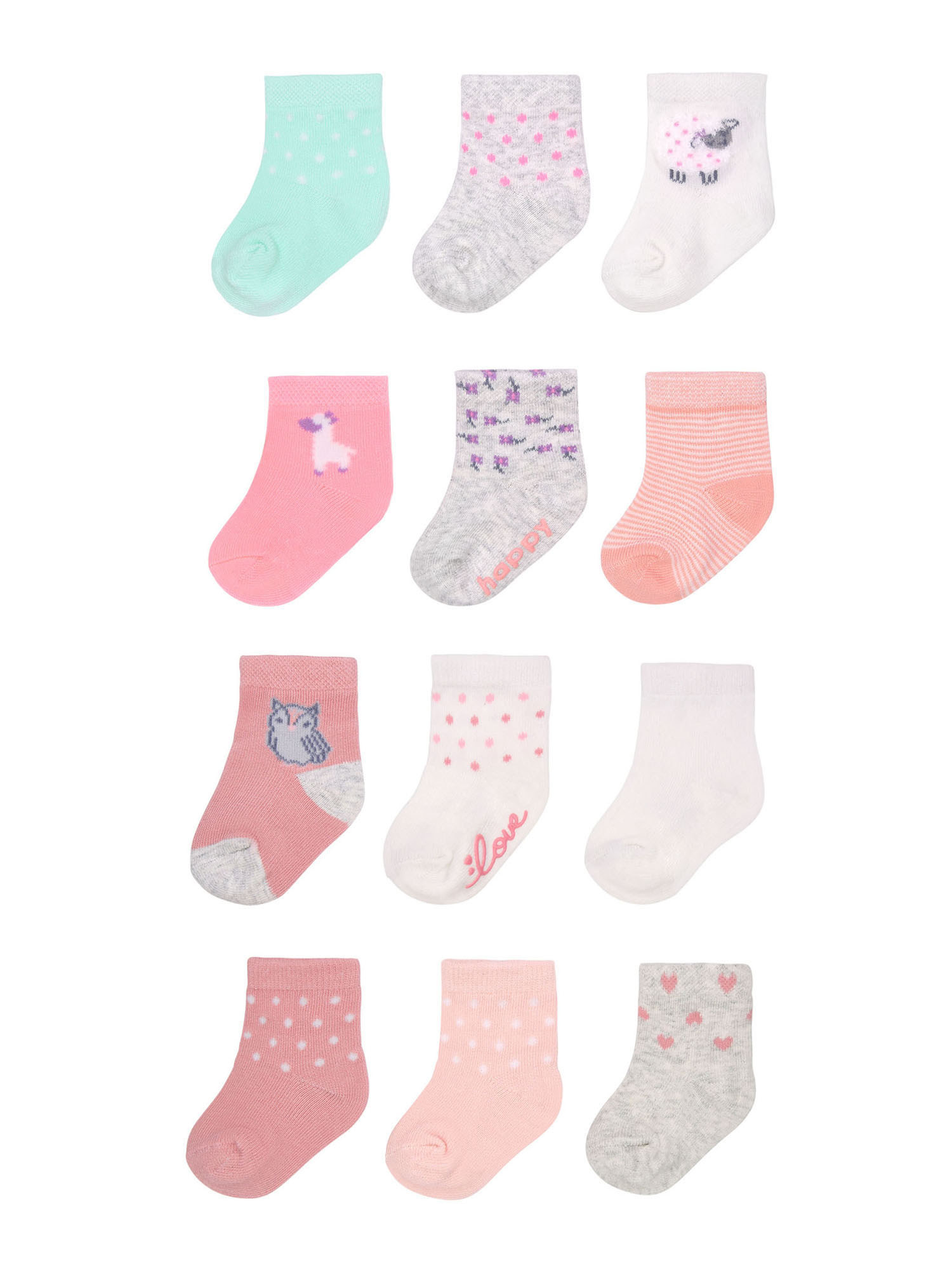 A set of pink, grey, and turquoise socks with various animal designs
