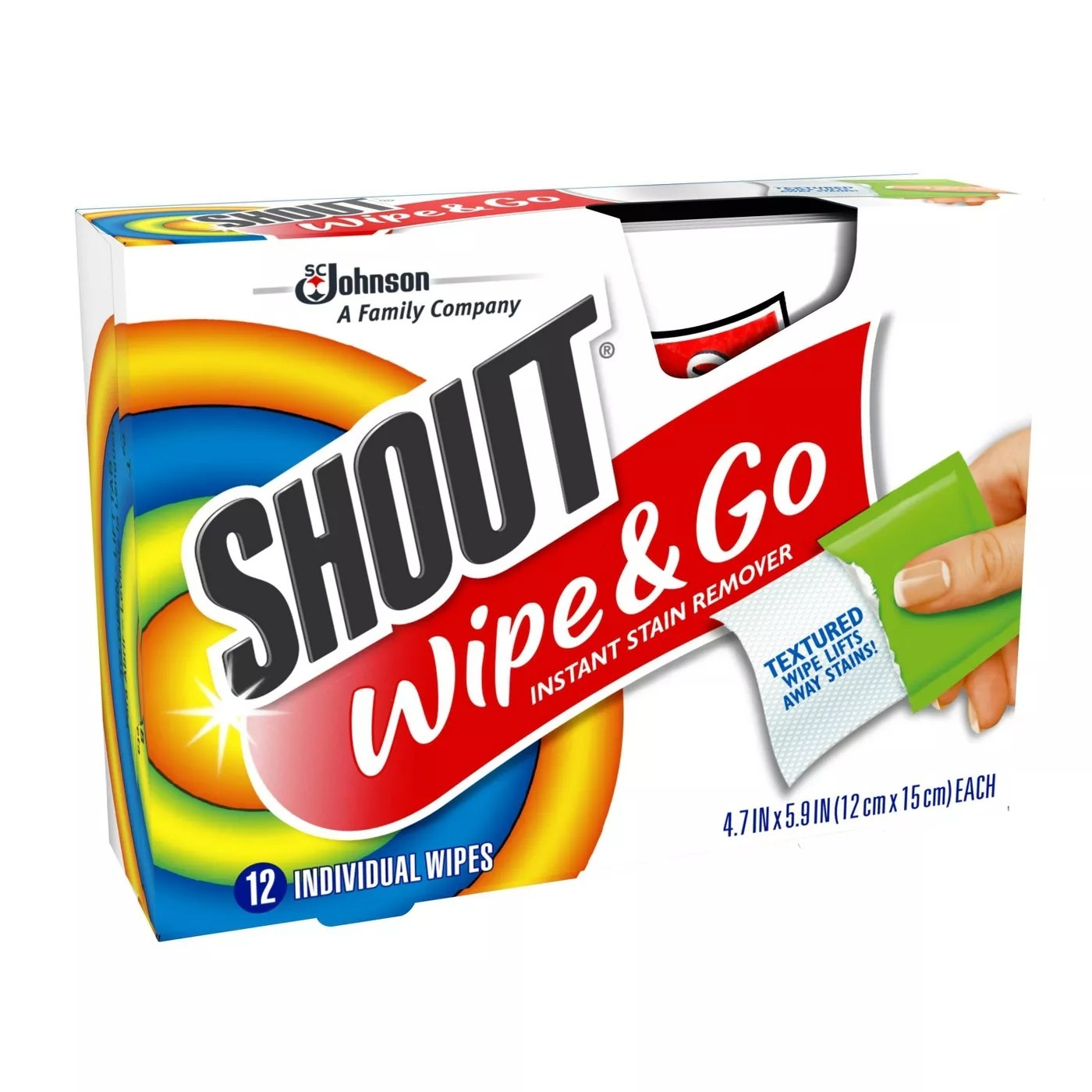 A 12-pack of Shout's Wipe & Go instant stain remover wipes