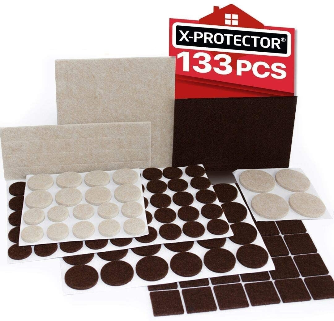 Brown and beige furniture pad stickers in circles, squares, and strips