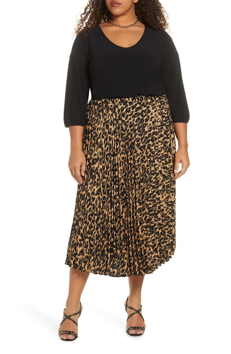 Model wearing the cheetah-print pleated skirt