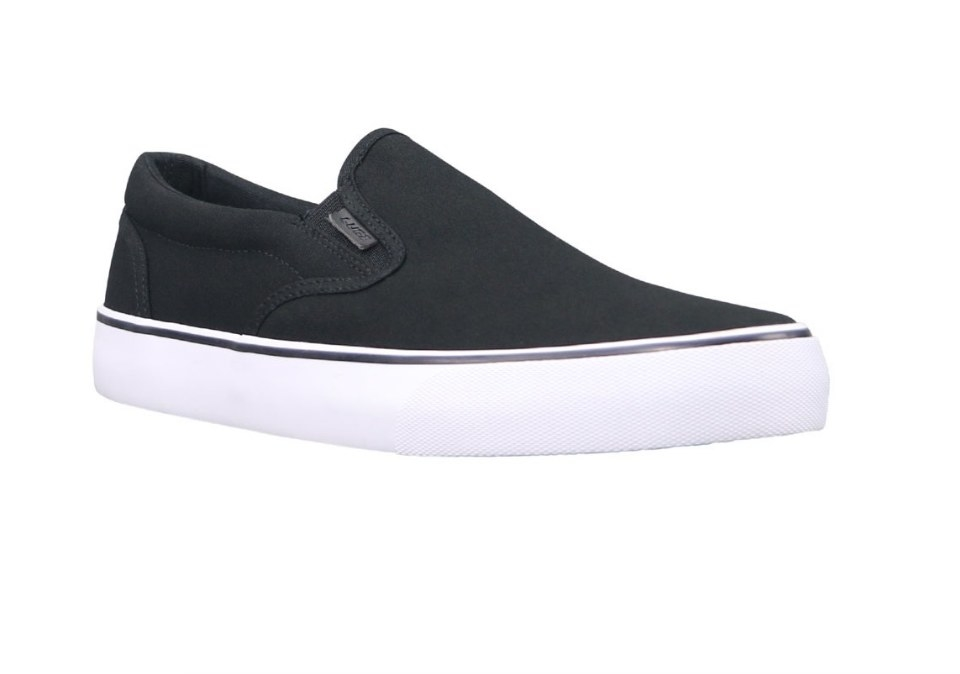 Black canvas slip on sneaker with thick white sole