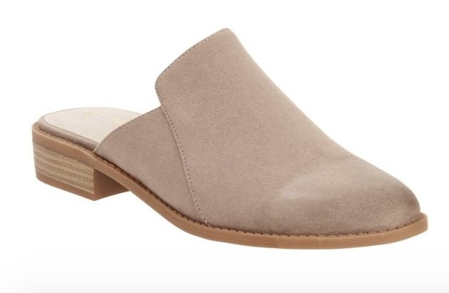 Open heel closed toe beige mule with wooden heel