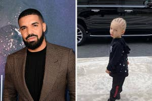 Drake on the red carpet next to an image of his son on his first day of school