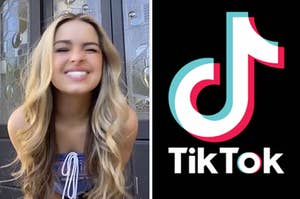 Addison Rae leaning toward the camera and winking on the left and the tiktok logo on the right