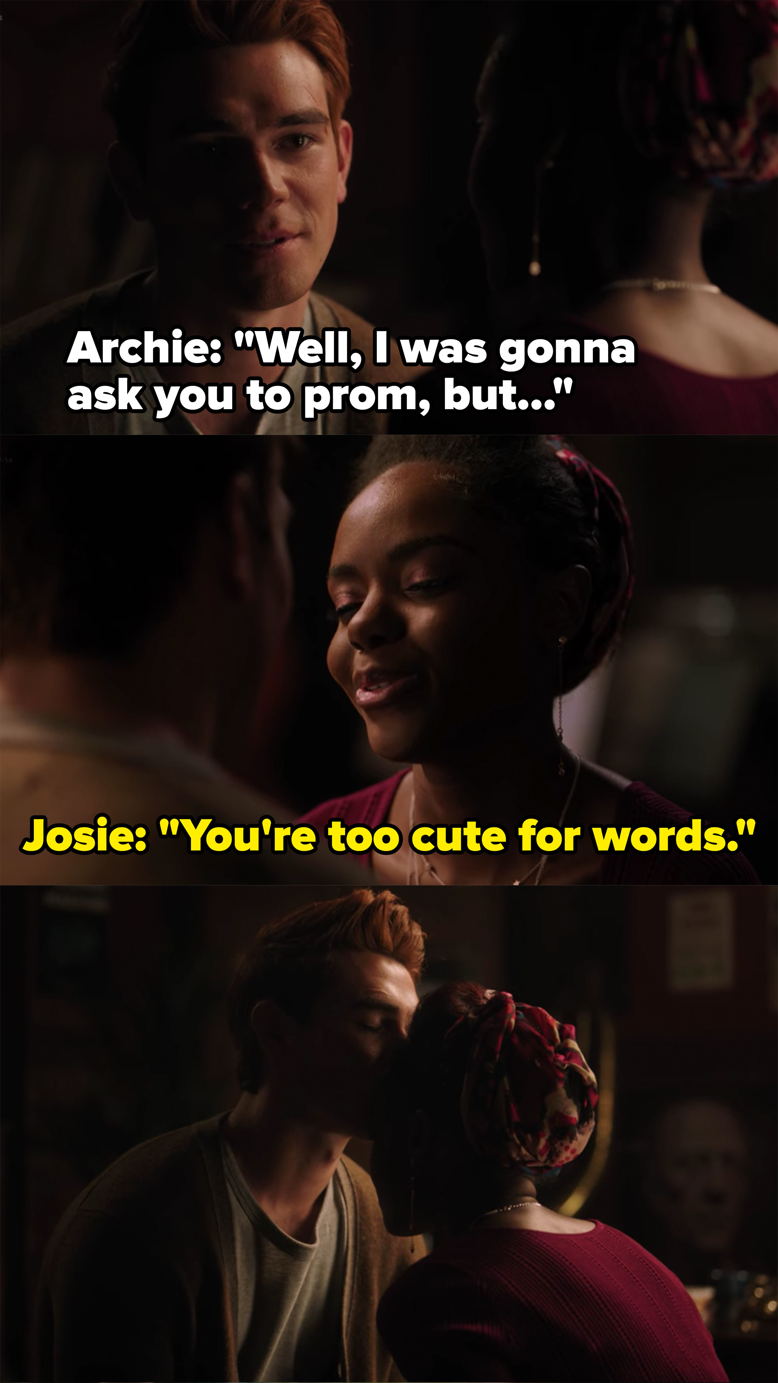 Archie kisses Josie's forehead and lets her go