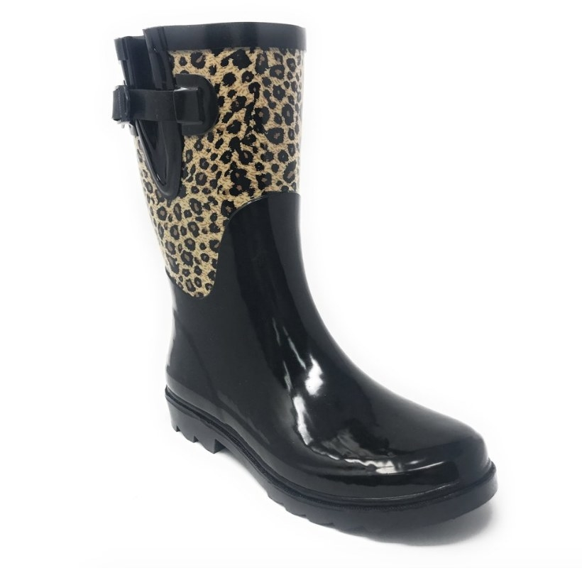 Black rubber rain boot with leopard print detailing at the calf