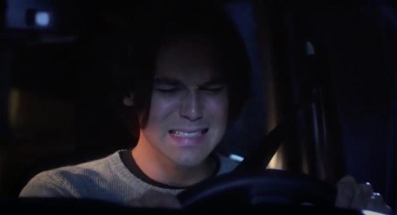 Caleb sobbing as he drives away