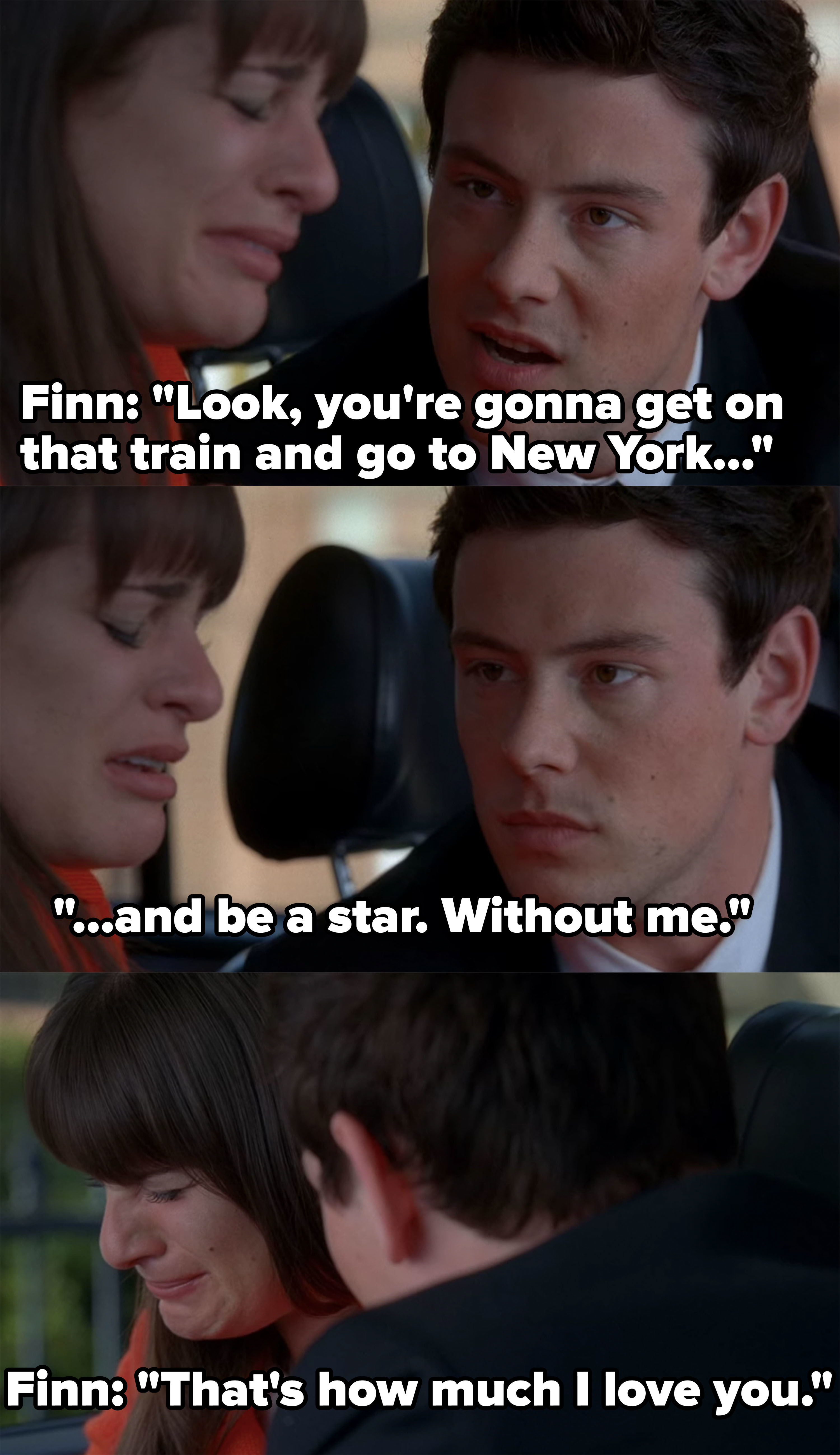 Finn tells Rachel to go to New York and be a star without him