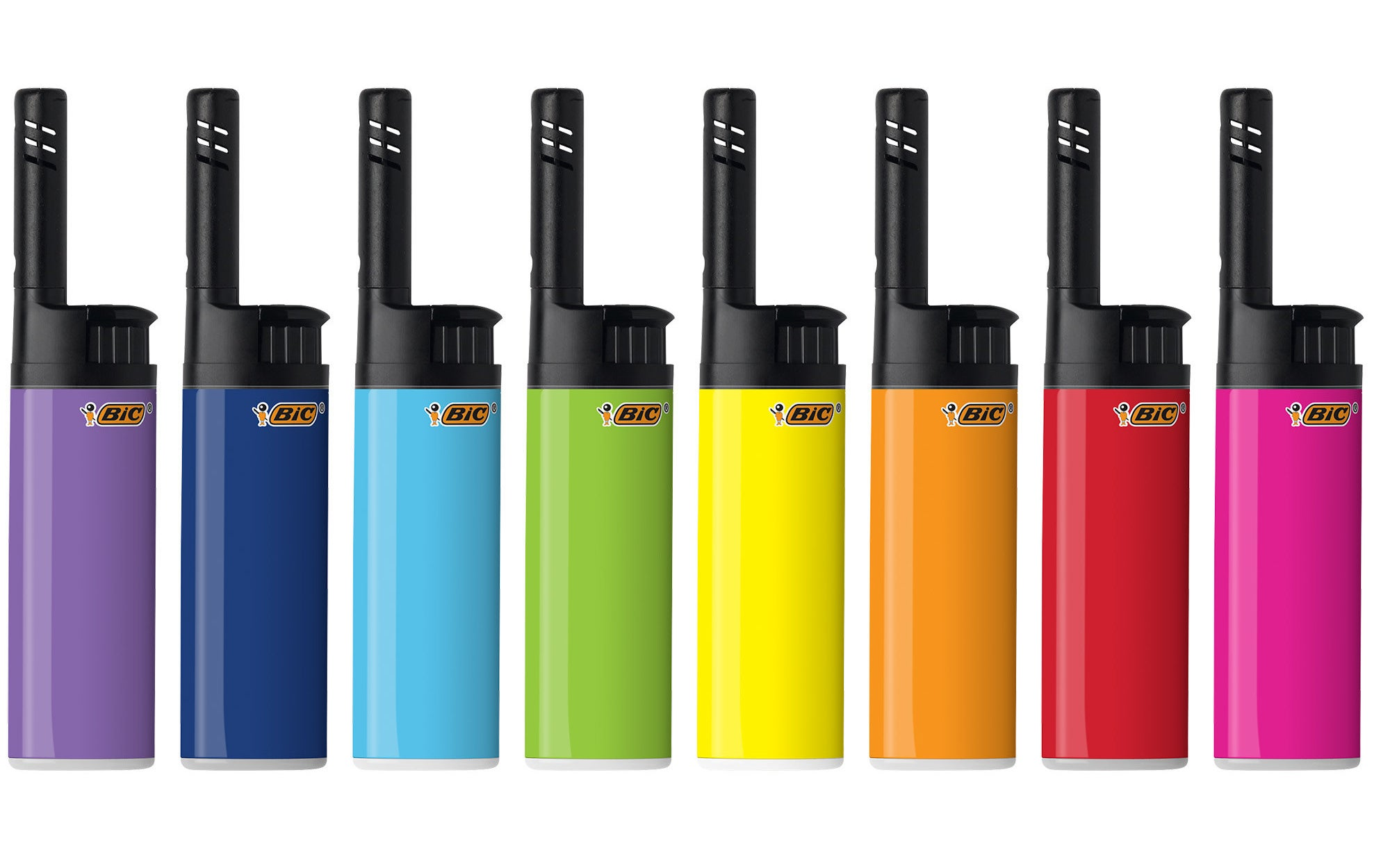 A rainbow array of Bic lighters with black tops