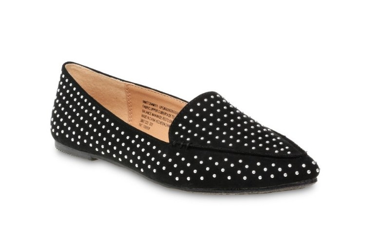 Pointed toe black loafer with silver embellishment