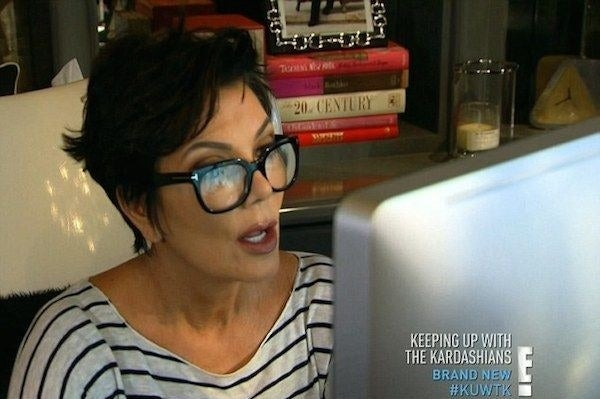 Kris Jenner reading something on a computer screen