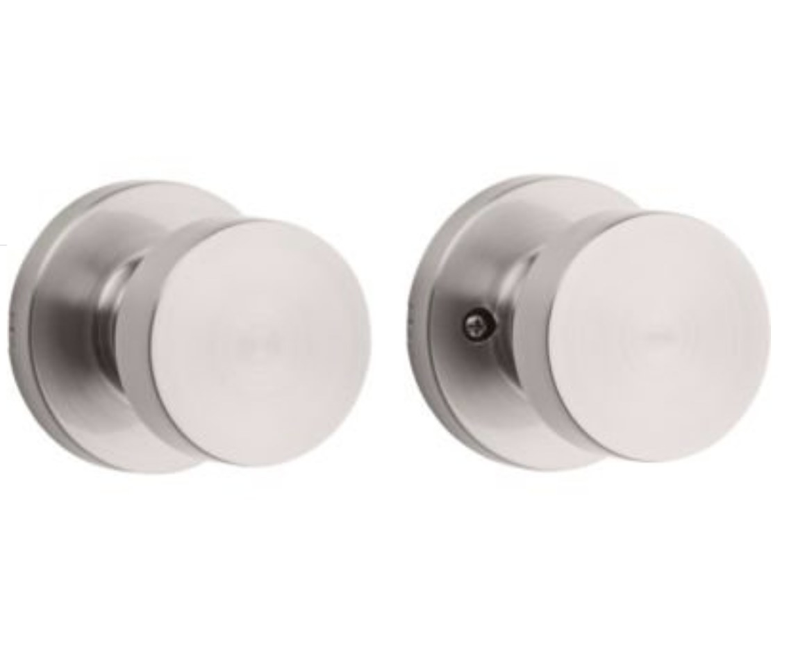 Two brushed silver door knobs