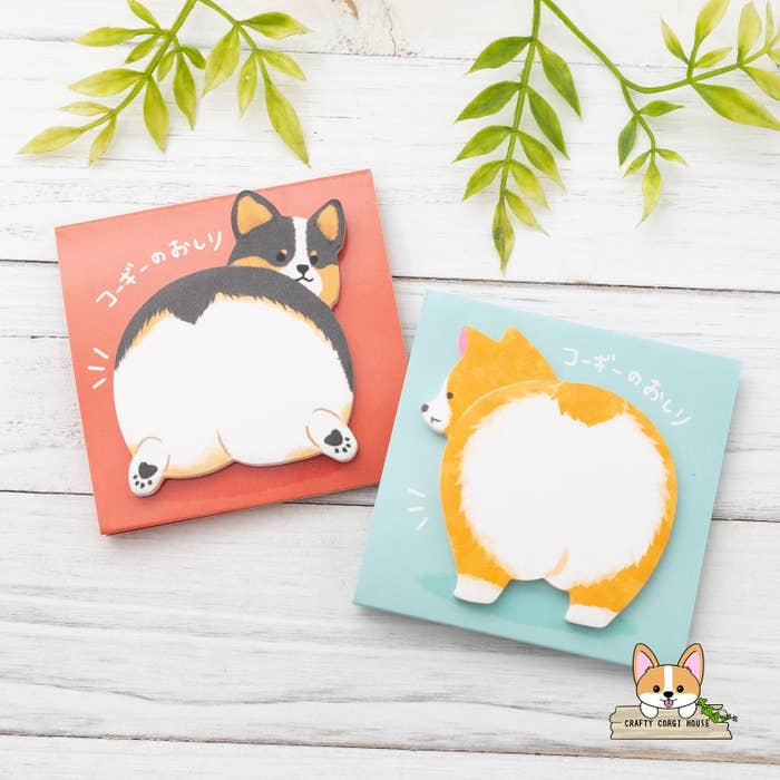 Colorful sticky notes featuring the fluffy butts of a red and a black tri corgi
