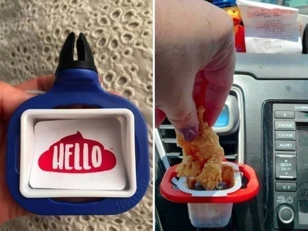 A reviewer dipping a chicken nugget into a sauce cup inside of the dip clip