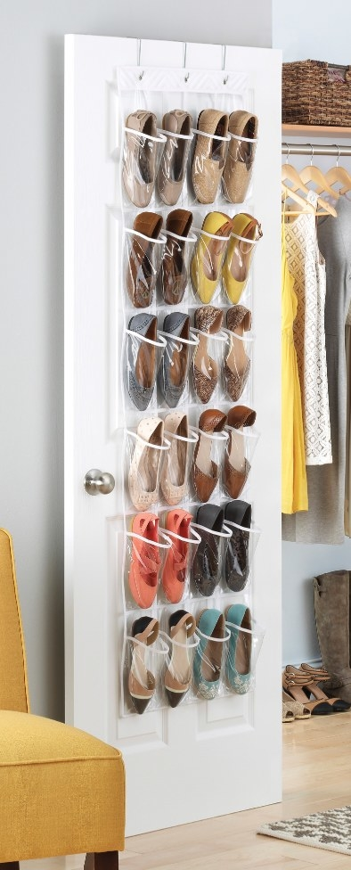 The pocket organizer holding flats and heels of various colors