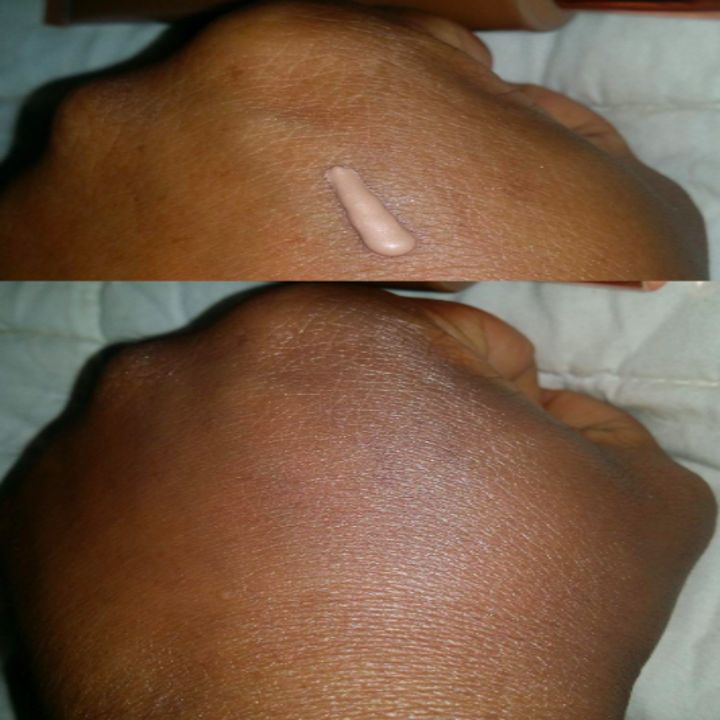before and after reviewer photo of product on skin and then rubbed into skin, revealing a dewy surface