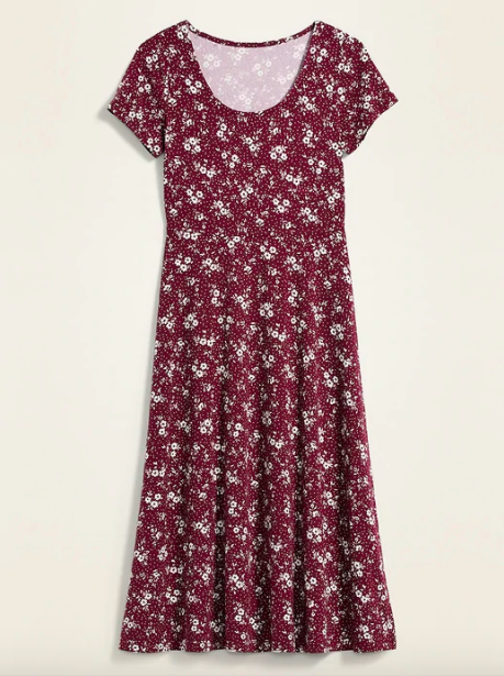 midi dress with burgundy background and white floral pattern