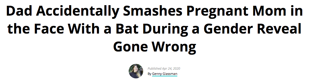 Dad Accidentally Smashes Pregnant Mom in the Face With a Bat During a Gender Reveal Gone Wrong