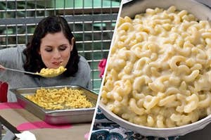 """On the left, Yael Stone brings a large spoon filled with mac 'n' cheese to her face as Lorna on """"Orange is the New Black,"""" and on the right, a bowl of white cheddar mac 'n' cheese"""