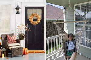On the left, wooden lanterns and brown patio furniture next to door with autumn leaf. On the right, reviewer sits in a white chair hammock on a porch