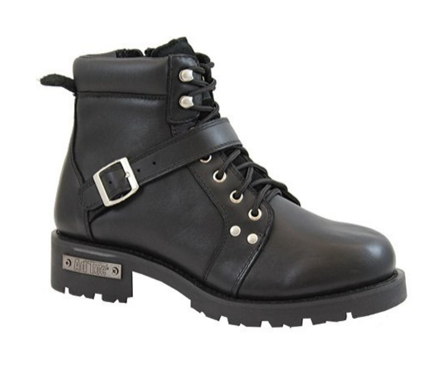 Black leather ankle boot with silver buckle and black laces