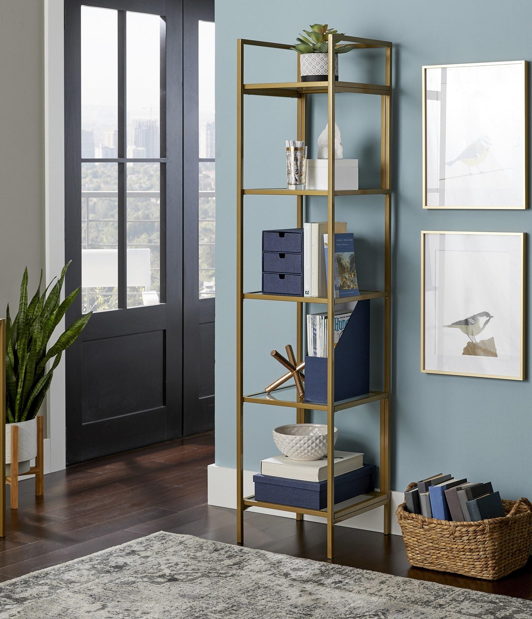 The narrow five-shelf bookcase