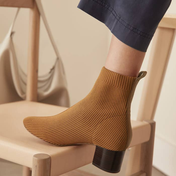 woven knit high ankle boots in toffee with a dark brown wooden heel
