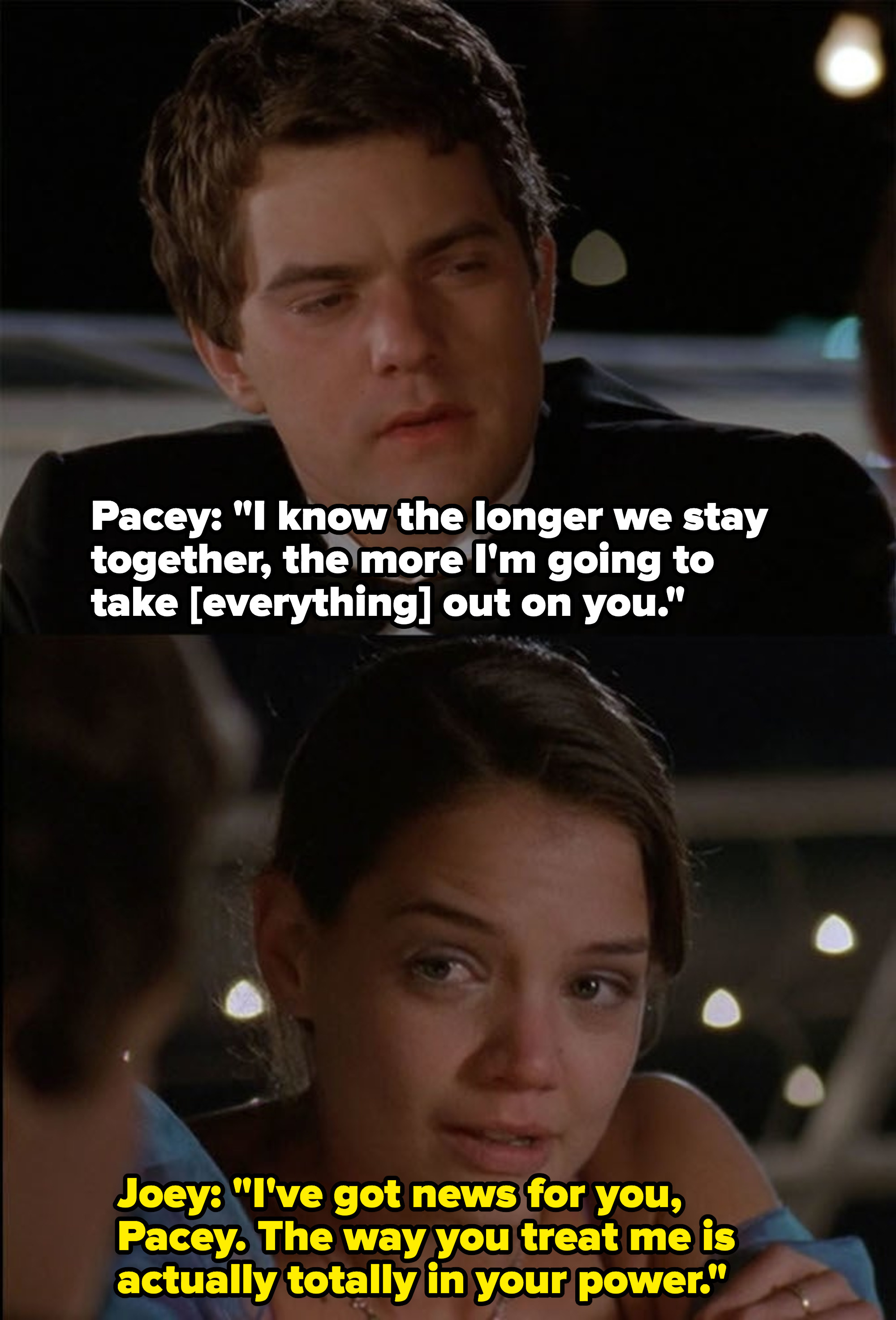 Pacey says he's taking his failures out on Joey and she reminds him that he can control how he treats her