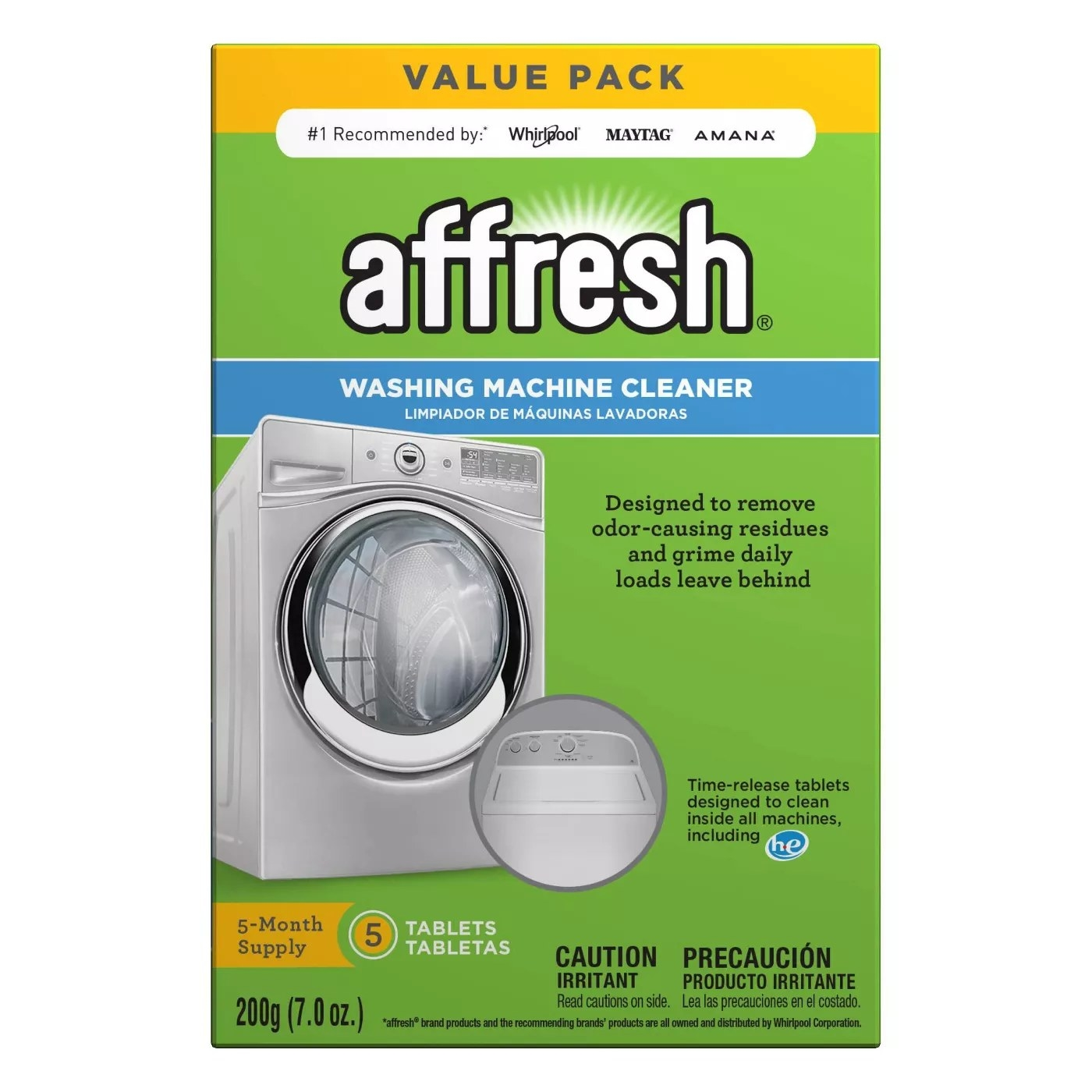 A 5-month supply of Affresh washing machine cleaner that is designed to remove odor-causing residues and grime daily loads leave behind