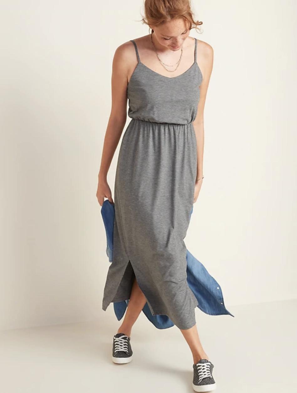 Model in a gray slub knit tank midi dress