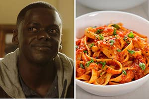 """Chris from """"Get Out"""" is on the left smiling with a plate of pasta on the right"""