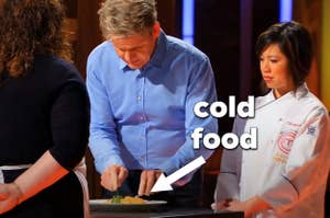 """Gordon Ramsay on """"Masterchef"""" judging a dish, which is usually served to the judges cold"""