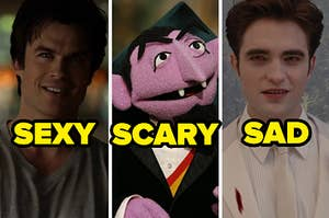 Three images of Damon from The Vampire Diaries, The Count from Sesame Street, and Edward Cullen from Twilight