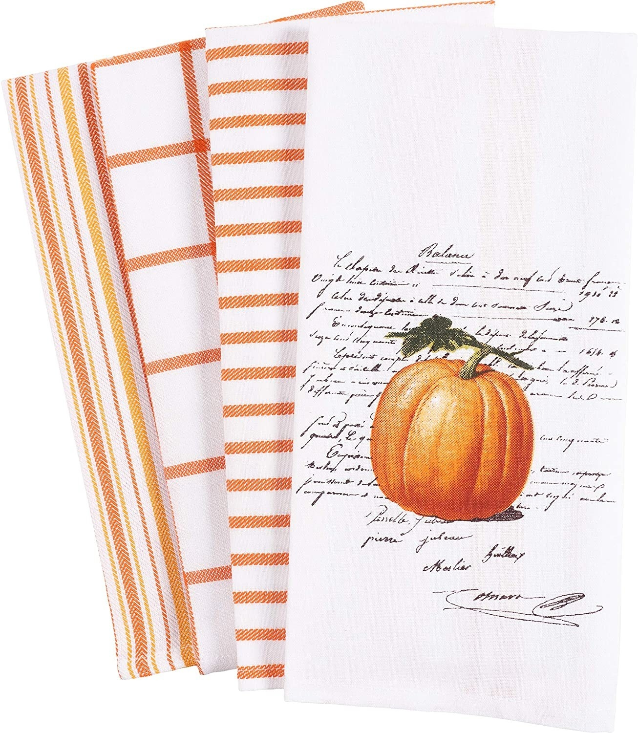 The set of towels are orange white striped patterns, except one which has a pumpkin and some script on it