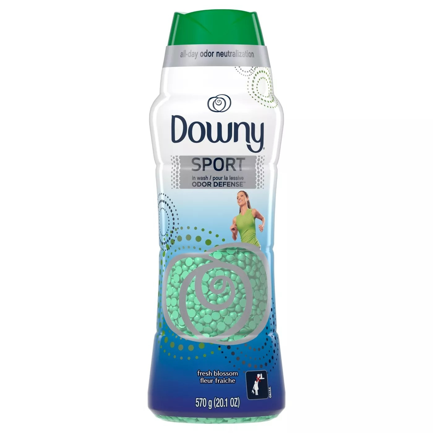 A bottle of Downy's sport odor defense beads that provide all-day odor neutralization