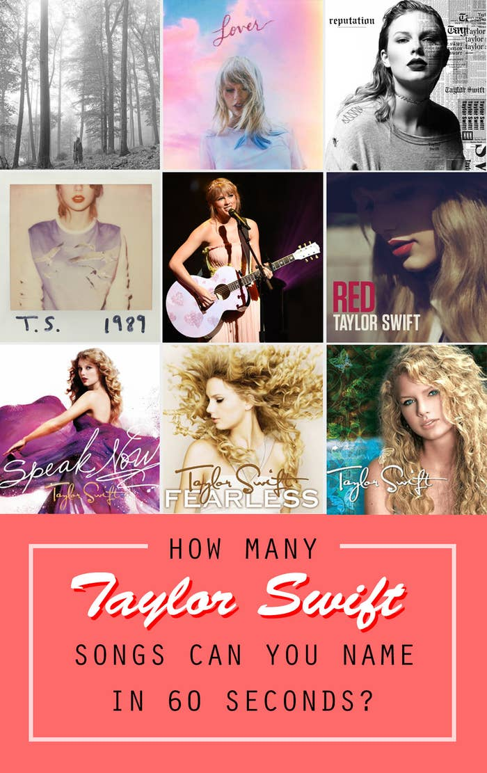"""A graphic of Taylor's album covers titled """"how many Taylor Swift songs can you name in 60 seconds?"""""""